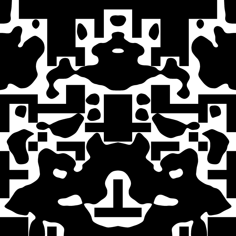 Abstract black and white Rorschach blot by AMECYLIA